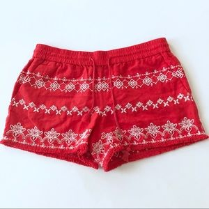 LOFT adorable red embroidered 🍓shorts🍓 small